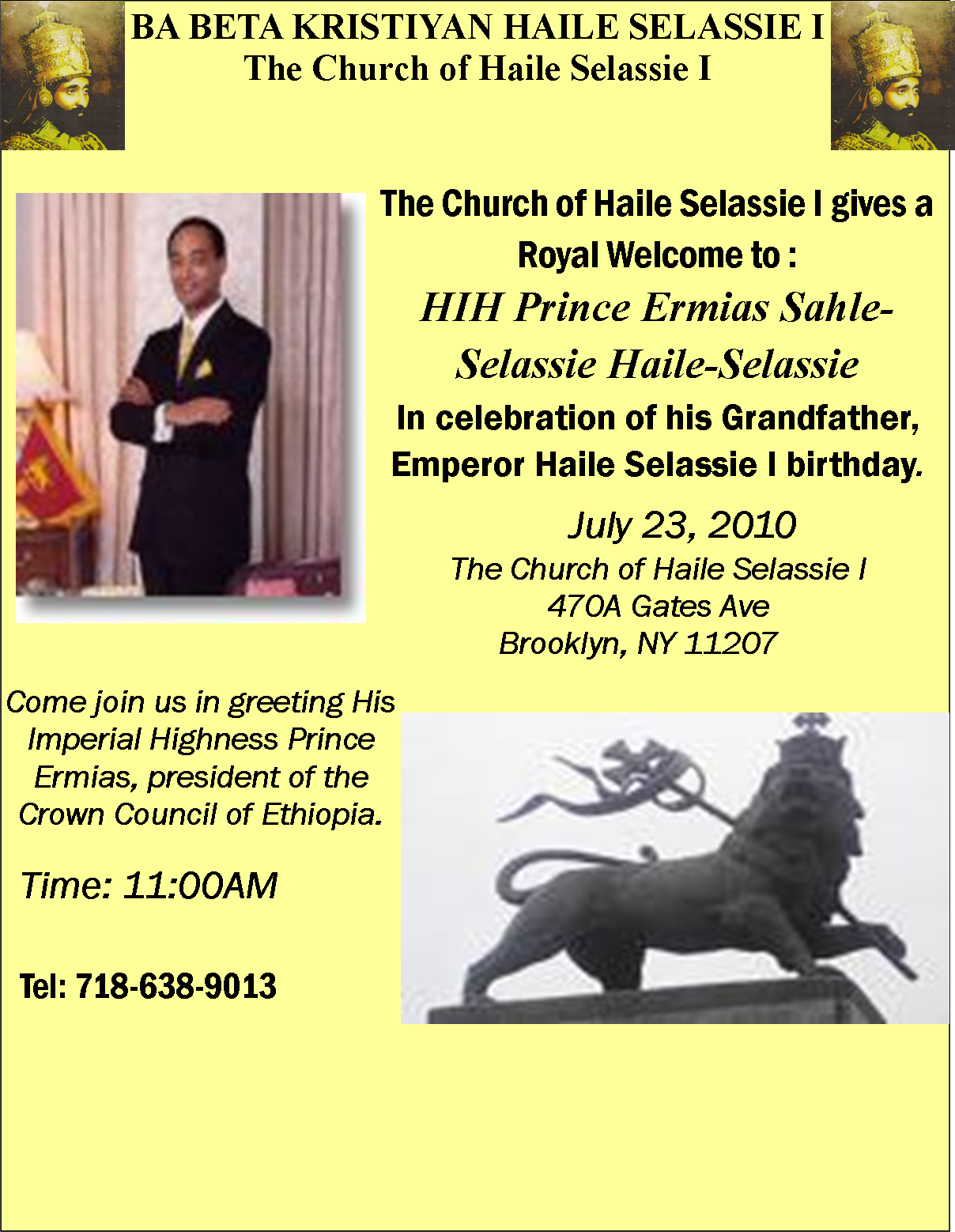 The church events archive the church of haile selassie i 470a gates avenue brooklyn ny 11216 718 638 9013 646 239 1987 kristyandbryce Image collections